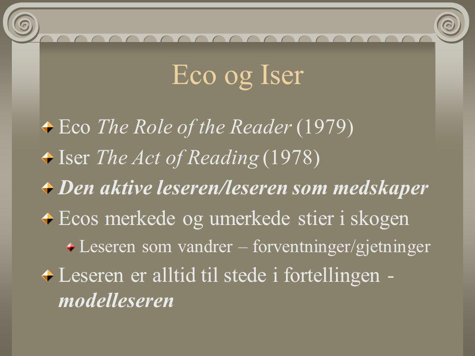 Wolfgang Iser Forfatteren forteller aldri alt i en fiksjonstekst Utelatelser – åpninger – tome plasser – dynamiske elementer Leseren må fylle ut tomrommene/strukturer som krever respons Åpningene – bestemtheter og ubestemtheter Den implisitte leser – den leserposisjonen som oppstår på bakgrunn av strukturene i teksten – en konstruksjon bildet av leseren i teksten, f eks leserens alder, interesser, kjønn - Meningen i en tekst oppstår i en spenning mellom den leserrollen teksten tilbyr og erfaringene/interessene til den virkelige leseren