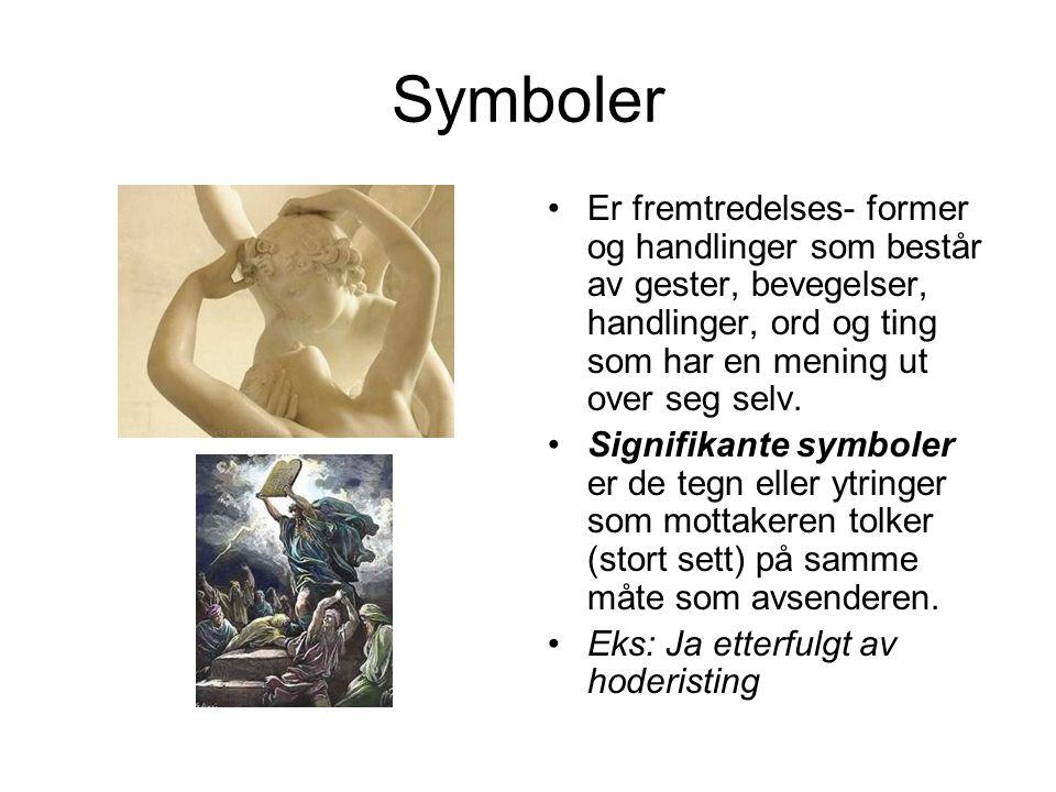 Symboler Er fremtredelses- former og handlinger som består av gester, bevegelser, handlinger, ord og ting som har en mening ut over seg selv. Signifik