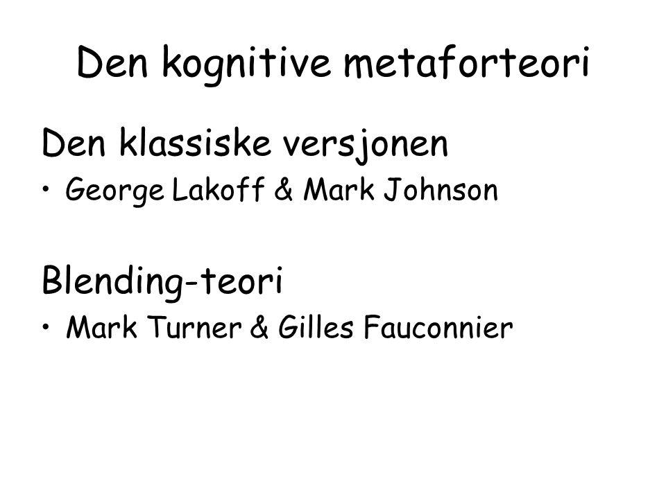 Den kognitive metaforteori Den klassiske versjonen George Lakoff & Mark Johnson Blending-teori Mark Turner & Gilles Fauconnier