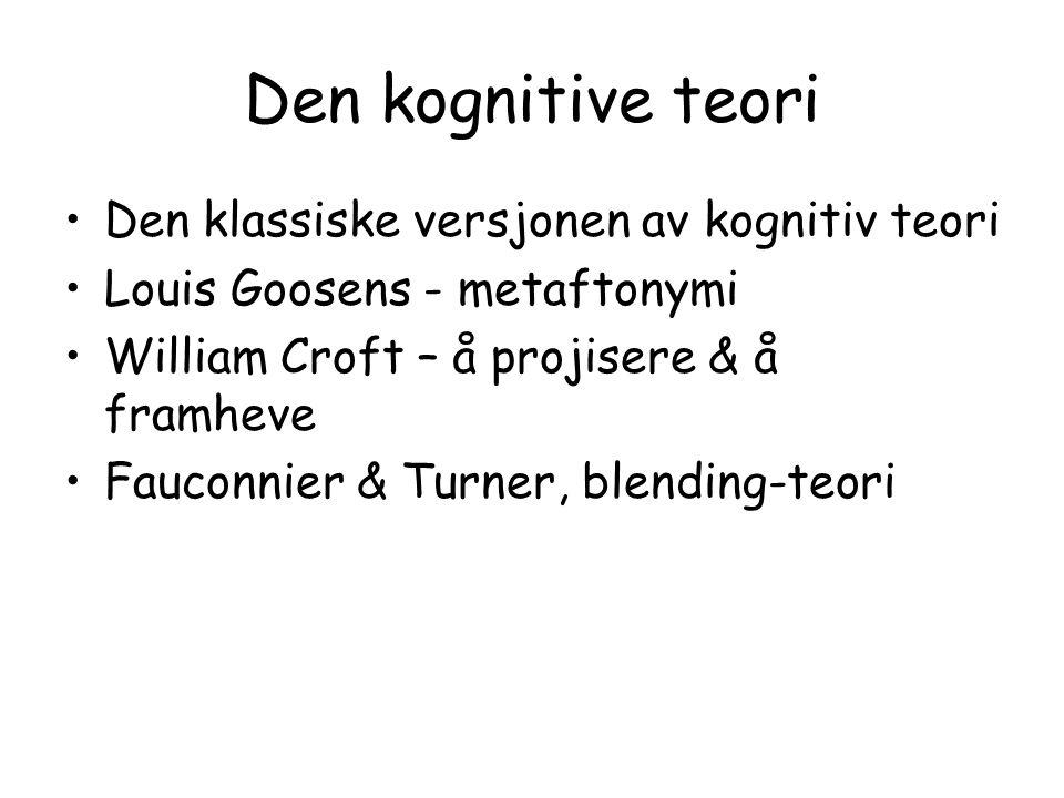 Den kognitive teori Den klassiske versjonen av kognitiv teori Louis Goosens - metaftonymi William Croft – å projisere & å framheve Fauconnier & Turner