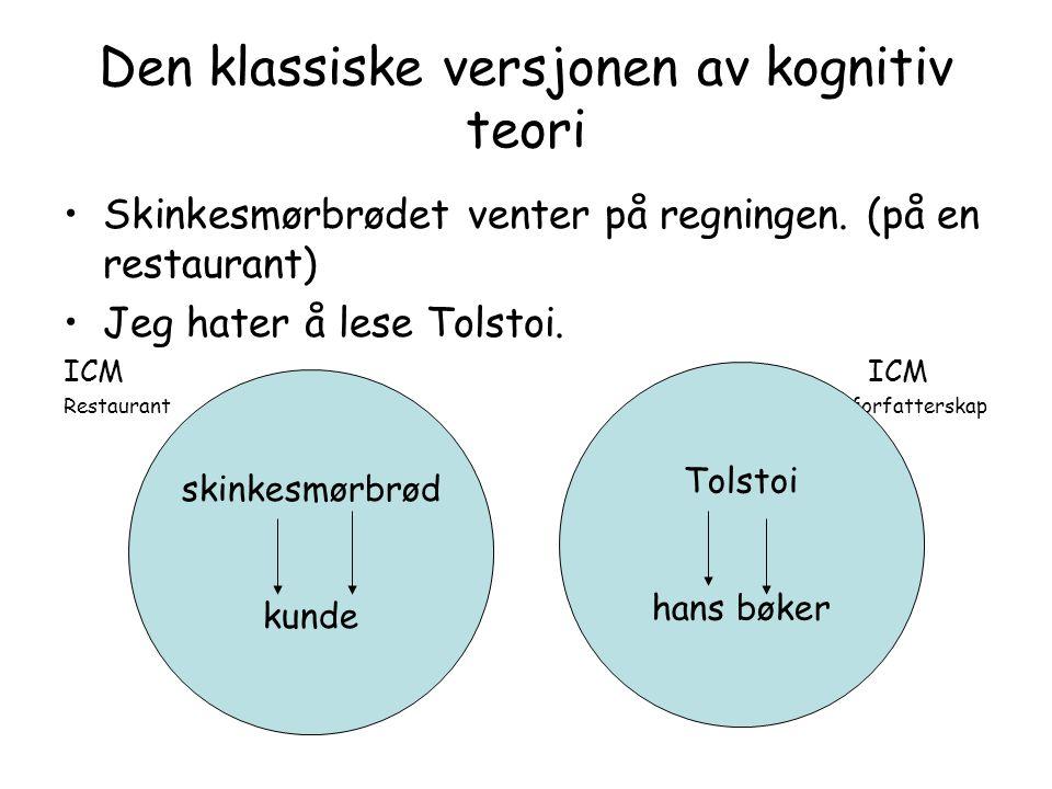Den klassiske versjonen av kognitiv teori Skinkesmørbrødet venter på regningen. (på en restaurant) Jeg hater å lese Tolstoi. ICM Restaurant forfatters