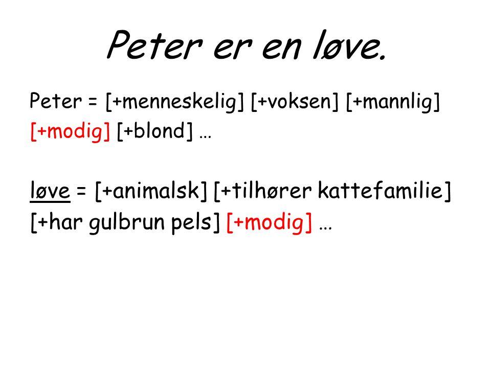 Peter er en løve. Peter = [+menneskelig] [+voksen] [+mannlig] [+modig] [+blond] … løve = [+animalsk] [+tilhører kattefamilie] [+har gulbrun pels] [+mo