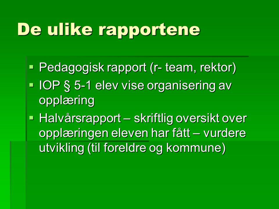 De ulike rapportene  Pedagogisk rapport (r- team, rektor)  IOP § 5-1 elev vise organisering av opplæring  Halvårsrapport – skriftlig oversikt over