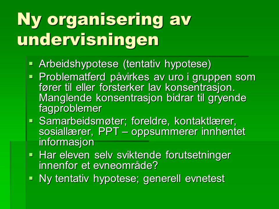 Ny organisering av undervisningen  Arbeidshypotese (tentativ hypotese)  Problematferd påvirkes av uro i gruppen som fører til eller forsterker lav k