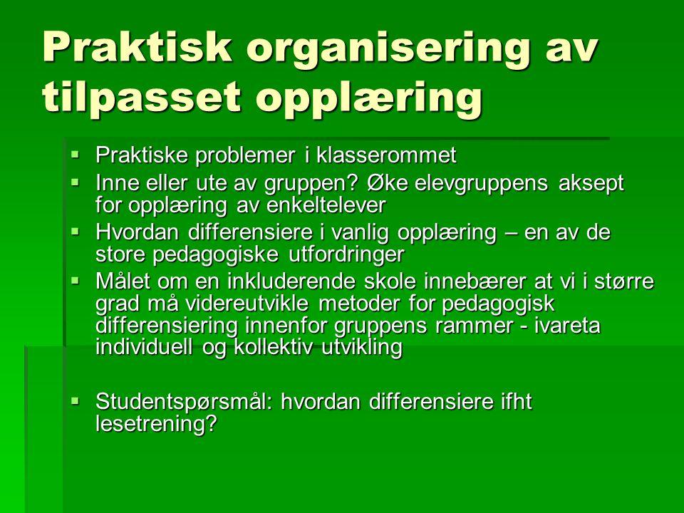 Praktisk organisering av tilpasset opplæring  Praktiske problemer i klasserommet  Inne eller ute av gruppen? Øke elevgruppens aksept for opplæring a