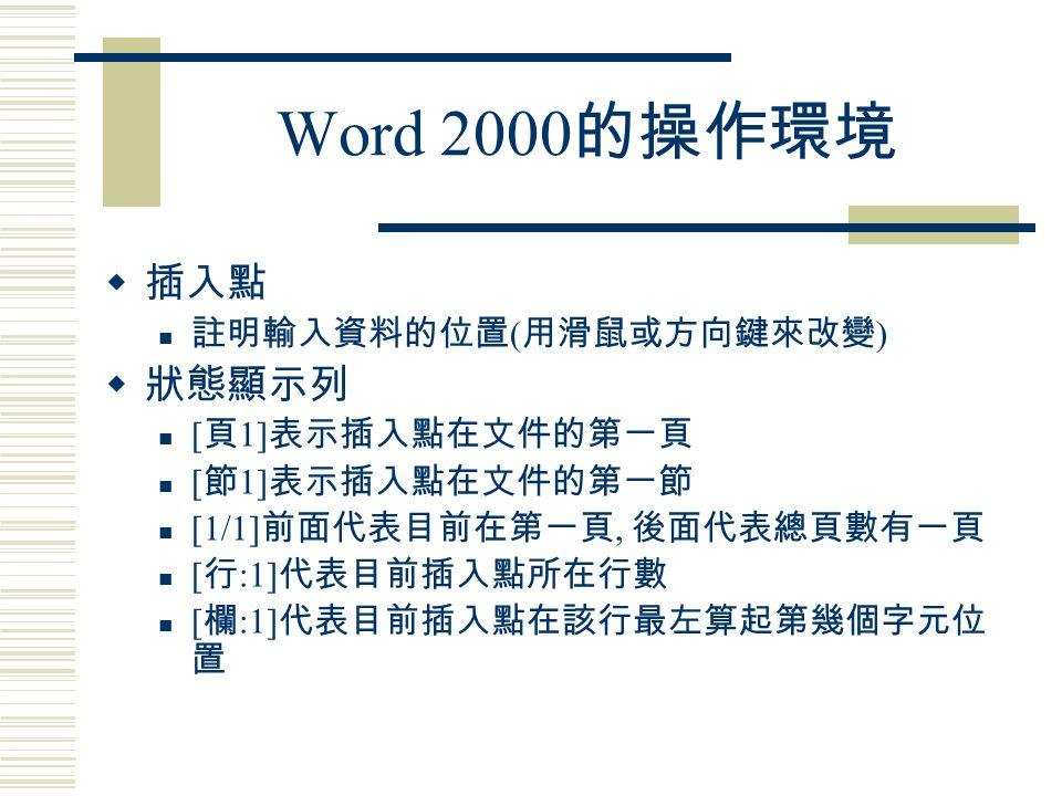 Word 2000 (2) 文字格式化處理