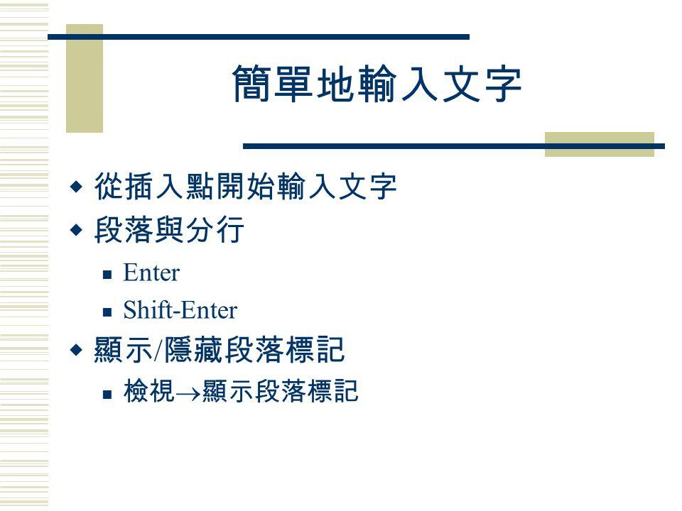 段落、對齊與縮排  段落是什麼? 每一個『 Enter 』按下,就產生了一個段落  如何在段落中分行? Shift – Enter (會產生一個分行符號)