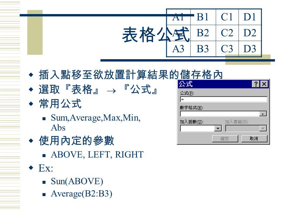 表格公式  插入點移至欲放置計算結果的儲存格內  選取『表格』  『公式』  常用公式 Sum,Average,Max,Min, Abs  使用內定的參數 ABOVE, LEFT, RIGHT  Ex: Sun(ABOVE) Average(B2:B3) A1B1C1D1 A2B2C2D2 A3B3C3D3