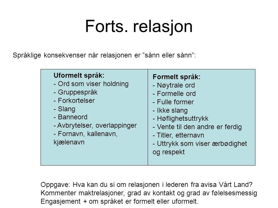 Forts. relasjon Uformelt språk: - Ord som viser holdning - Gruppespråk - Forkortelser - Slang - Banneord - Avbrytelser, overlappinger - Fornavn, kalle