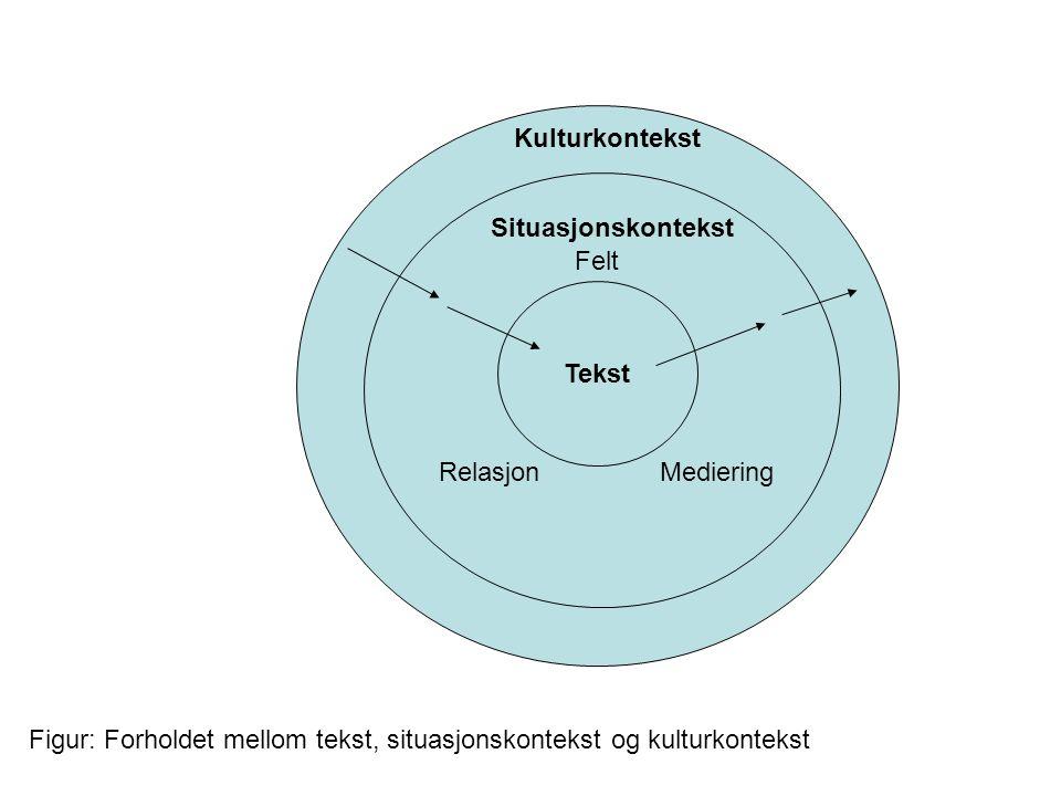 Tekst Situasjonskontekst Kulturkontekst Felt Relasjon Mediering Figur: Forholdet mellom tekst, situasjonskontekst og kulturkontekst