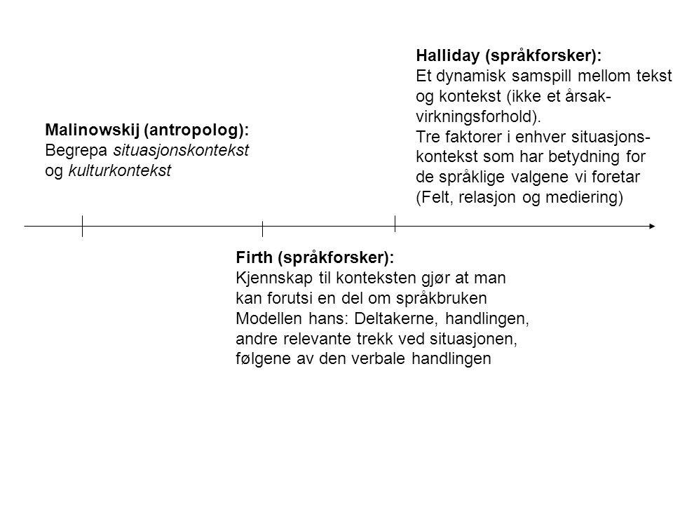 Malinowskij (antropolog): Begrepa situasjonskontekst og kulturkontekst Firth (språkforsker): Kjennskap til konteksten gjør at man kan forutsi en del om språkbruken Modellen hans: Deltakerne, handlingen, andre relevante trekk ved situasjonen, følgene av den verbale handlingen Halliday (språkforsker): Et dynamisk samspill mellom tekst og kontekst (ikke et årsak- virkningsforhold).