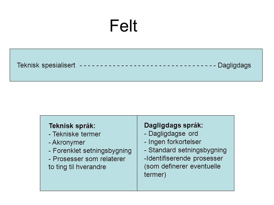 Felt Teknisk spesialisert - - - - - - - - - - - - - - - - - - - - - - - - - - - - - - - - - Dagligdags Teknisk språk: - Tekniske termer - Akronymer - Forenklet setningsbygning - Prosesser som relaterer to ting til hverandre Dagligdags språk: - Dagligdagse ord - Ingen forkortelser - Standard setningsbygning -Identifiserende prosesser (som definerer eventuelle termer)
