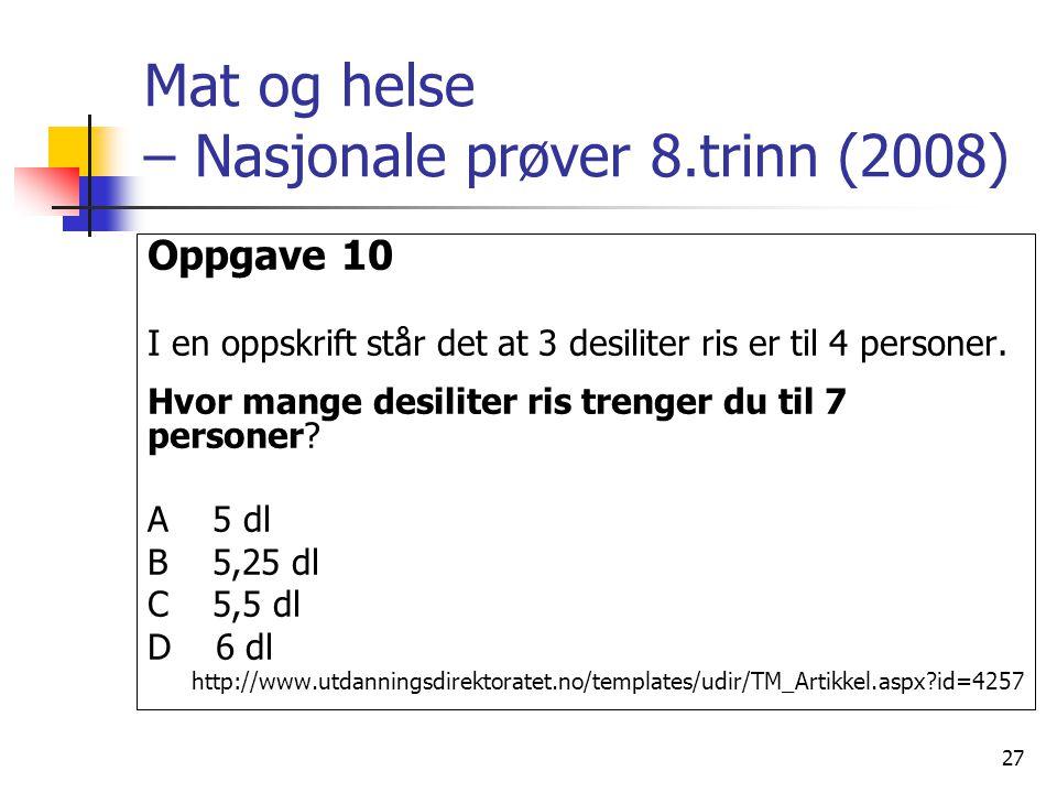27 Mat og helse – Nasjonale prøver 8.trinn (2008) Oppgave 10 I en oppskrift står det at 3 desiliter ris er til 4 personer.