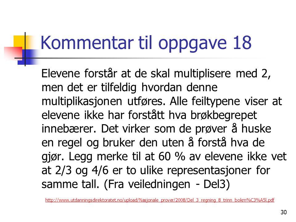 Kommentar til oppgave 18 Elevene forstår at de skal multiplisere med 2, men det er tilfeldig hvordan denne multiplikasjonen utføres.