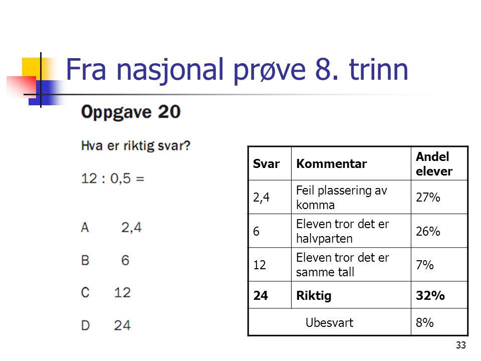 Fra nasjonal prøve 8.