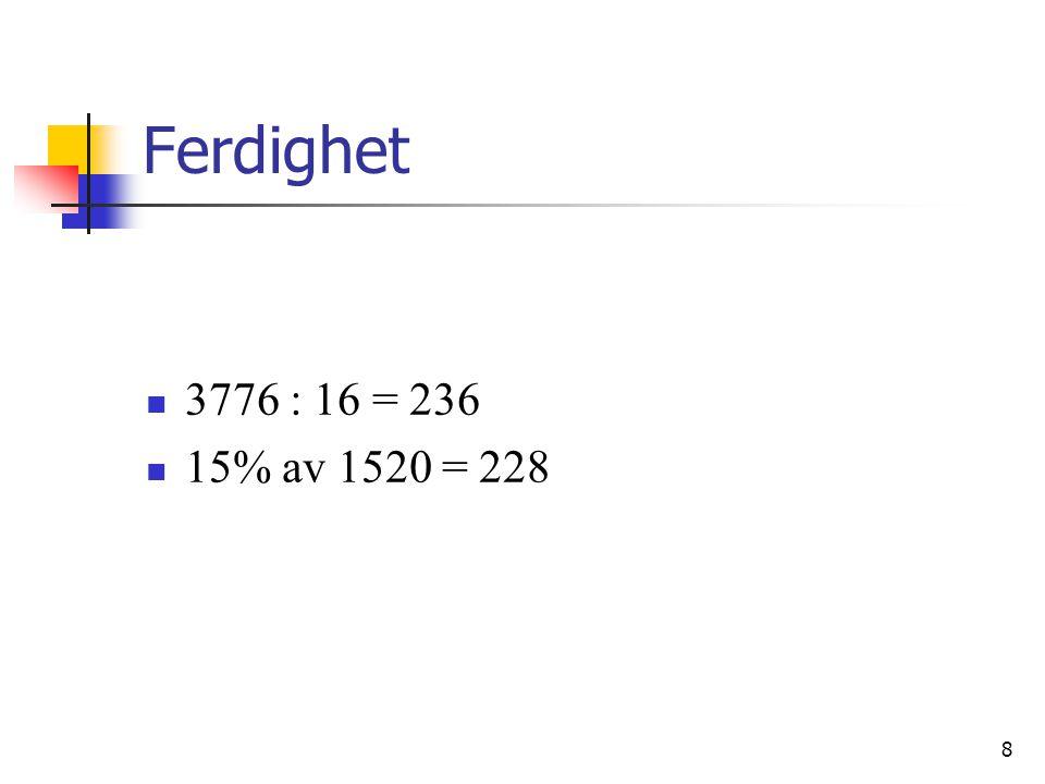 8 Ferdighet 3776 : 16 = 236 15% av 1520 = 228