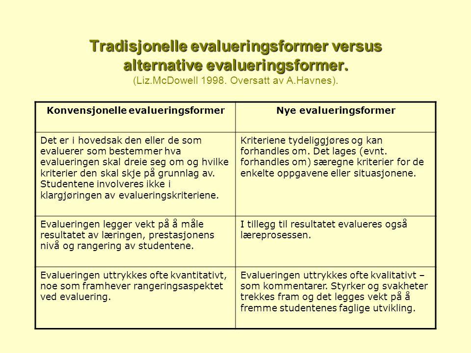 Tradisjonelle evalueringsformer versus alternative evalueringsformer.