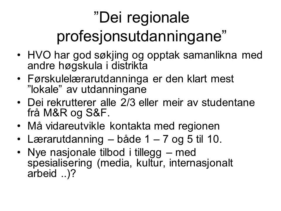 Dei regionale profesjonsutdanningane HVO har god søkjing og opptak samanlikna med andre høgskula i distrikta Førskulelærarutdanninga er den klart mest lokale av utdanningane Dei rekrutterer alle 2/3 eller meir av studentane frå M&R og S&F.