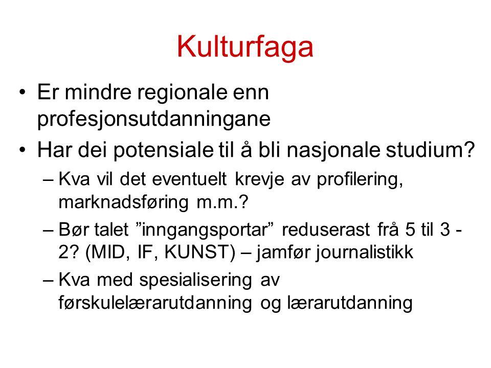Kulturfaga Er mindre regionale enn profesjonsutdanningane Har dei potensiale til å bli nasjonale studium.