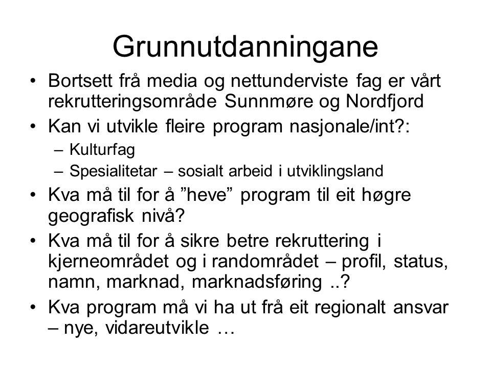 Grunnutdanningane Bortsett frå media og nettunderviste fag er vårt rekrutteringsområde Sunnmøre og Nordfjord Kan vi utvikle fleire program nasjonale/int?: –Kulturfag –Spesialitetar – sosialt arbeid i utviklingsland Kva må til for å heve program til eit høgre geografisk nivå.