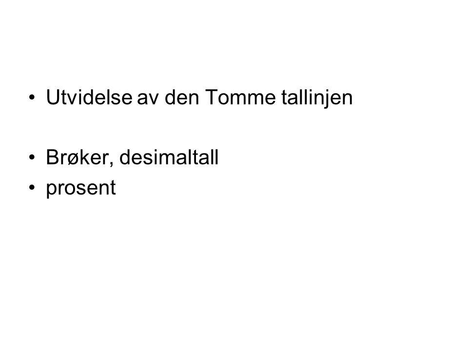 Utvidelse av den Tomme tallinjen Brøker, desimaltall prosent