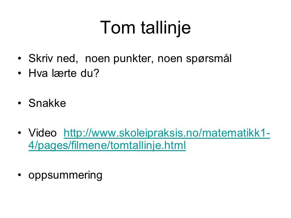 Tom tallinje Skriv ned, noen punkter, noen spørsmål Hva lærte du? Snakke Video http://www.skoleipraksis.no/matematikk1- 4/pages/filmene/tomtallinje.ht