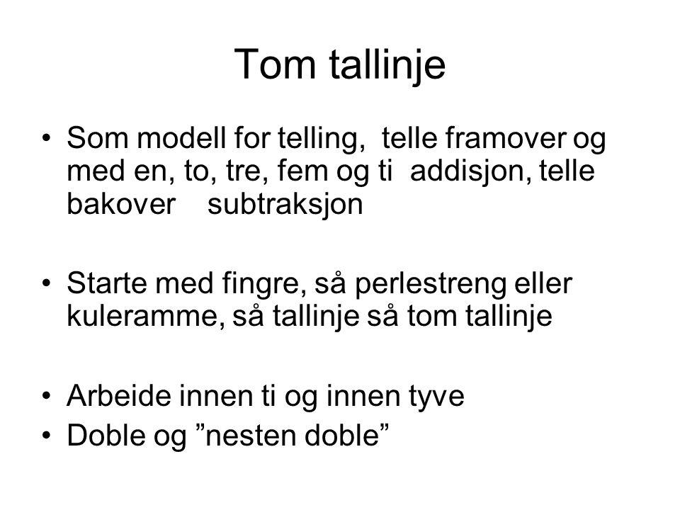Tom tallinje Som modell for telling, telle framover og med en, to, tre, fem og ti addisjon, telle bakover subtraksjon Starte med fingre, så perlestren
