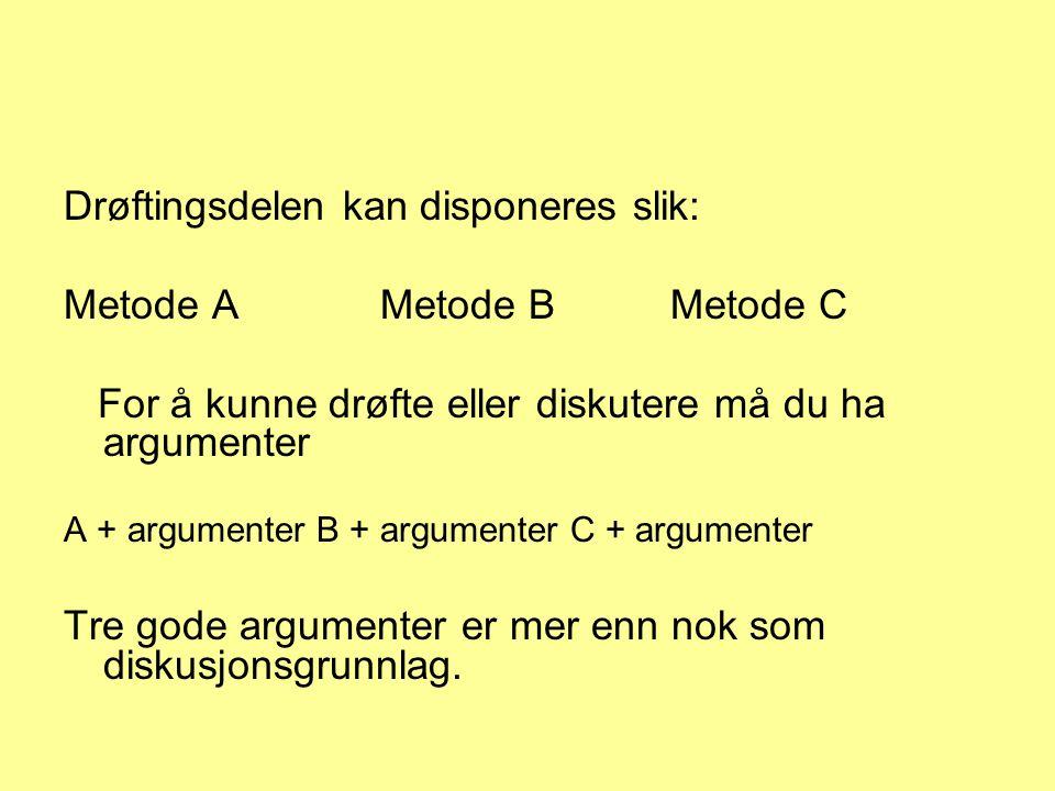 Drøftingsdelen kan disponeres slik: Metode AMetode B Metode C For å kunne drøfte eller diskutere må du ha argumenter A + argumenter B + argumenter C + argumenter Tre gode argumenter er mer enn nok som diskusjonsgrunnlag.