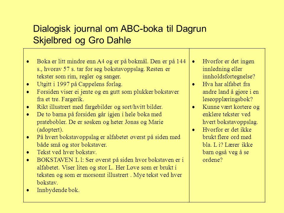 Dialogisk journal om ABC-boka til Dagrun Skjelbred og Gro Dahle  Boka er litt mindre enn A4 og er på bokmål.