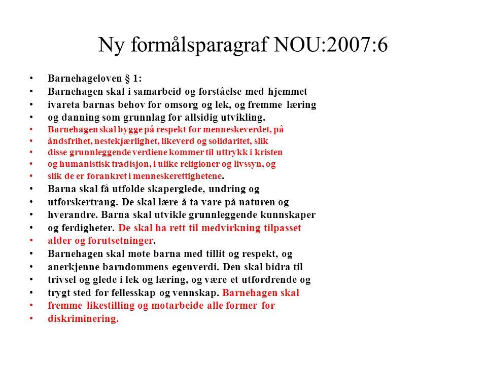 Ny formålsparagraf NOU:2007:6 Barnehageloven § 1: Barnehagen skal i samarbeid og forståelse med hjemmet ivareta barnas behov for omsorg og lek, og fre