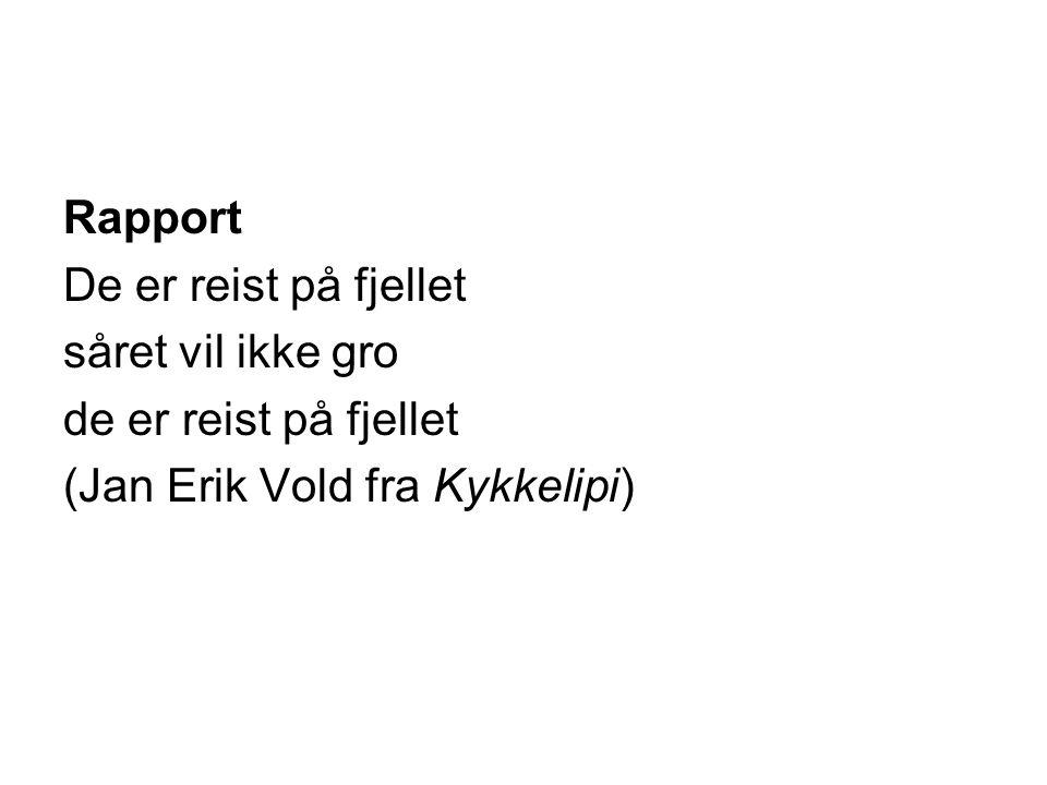 Rapport De er reist på fjellet såret vil ikke gro de er reist på fjellet (Jan Erik Vold fra Kykkelipi)