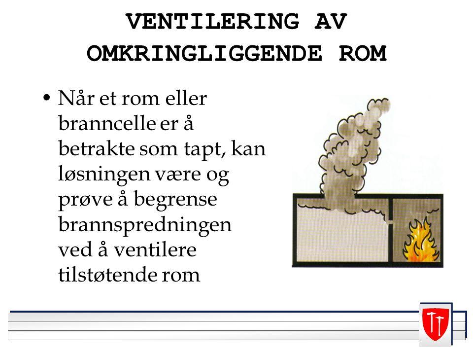 VENTILERING AV OMKRINGLIGGENDE ROM Når et rom eller branncelle er å betrakte som tapt, kan løsningen være og prøve å begrense brannspredningen ved å ventilere tilstøtende rom