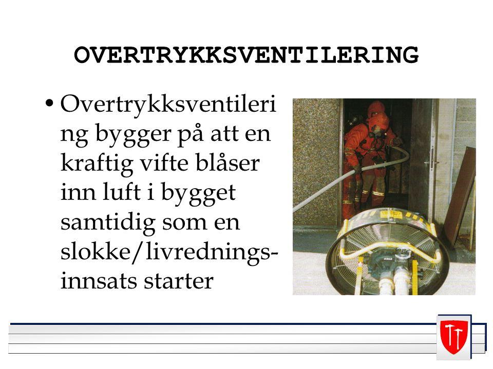 OVERTRYKKSVENTILERING Overtrykksventileri ng bygger på att en kraftig vifte blåser inn luft i bygget samtidig som en slokke/livrednings- innsats starter