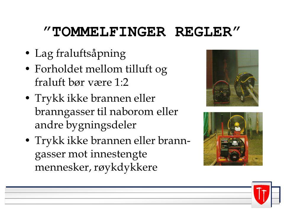 """""""TOMMELFINGER REGLER"""" Lag fraluftsåpning Forholdet mellom tilluft og fraluft bør være 1:2 Trykk ikke brannen eller branngasser til naborom eller andre"""