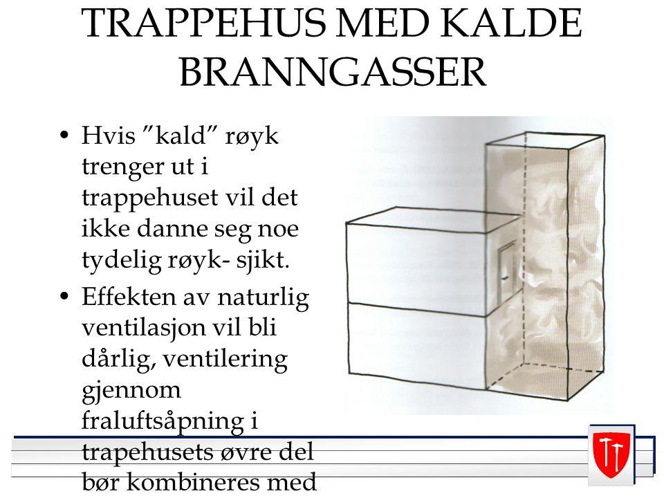 """TRAPPEHUS MED KALDE BRANNGASSER Hvis """"kald"""" røyk trenger ut i trappehuset vil det ikke danne seg noe tydelig røyk- sjikt. Effekten av naturlig ventila"""
