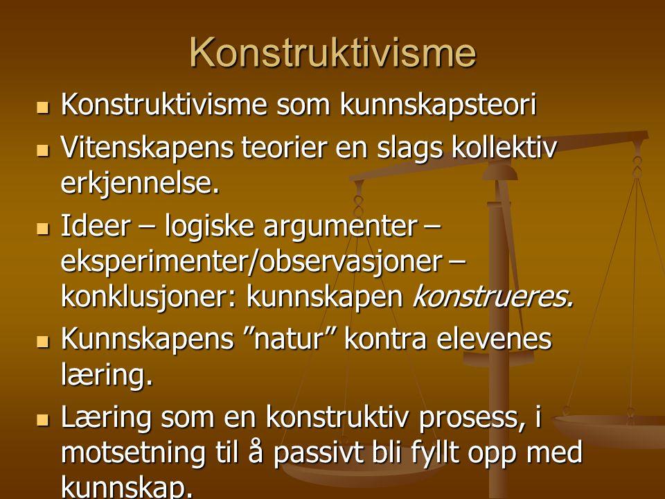 Konstruktivisme Konstruktivisme som kunnskapsteori Konstruktivisme som kunnskapsteori Vitenskapens teorier en slags kollektiv erkjennelse. Vitenskapen