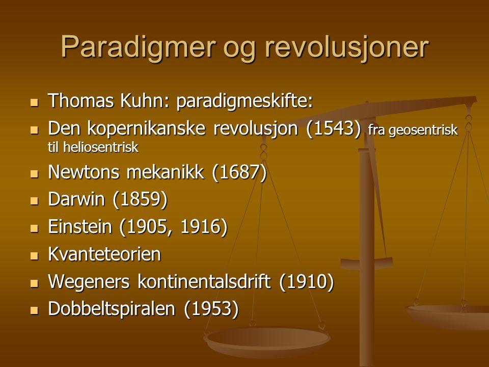 Paradigmer og revolusjoner Thomas Kuhn: paradigmeskifte: Thomas Kuhn: paradigmeskifte: Den kopernikanske revolusjon (1543) fra geosentrisk til heliosentrisk Den kopernikanske revolusjon (1543) fra geosentrisk til heliosentrisk Newtons mekanikk (1687) Newtons mekanikk (1687) Darwin (1859) Darwin (1859) Einstein (1905, 1916) Einstein (1905, 1916) Kvanteteorien Kvanteteorien Wegeners kontinentalsdrift (1910) Wegeners kontinentalsdrift (1910) Dobbeltspiralen (1953) Dobbeltspiralen (1953)