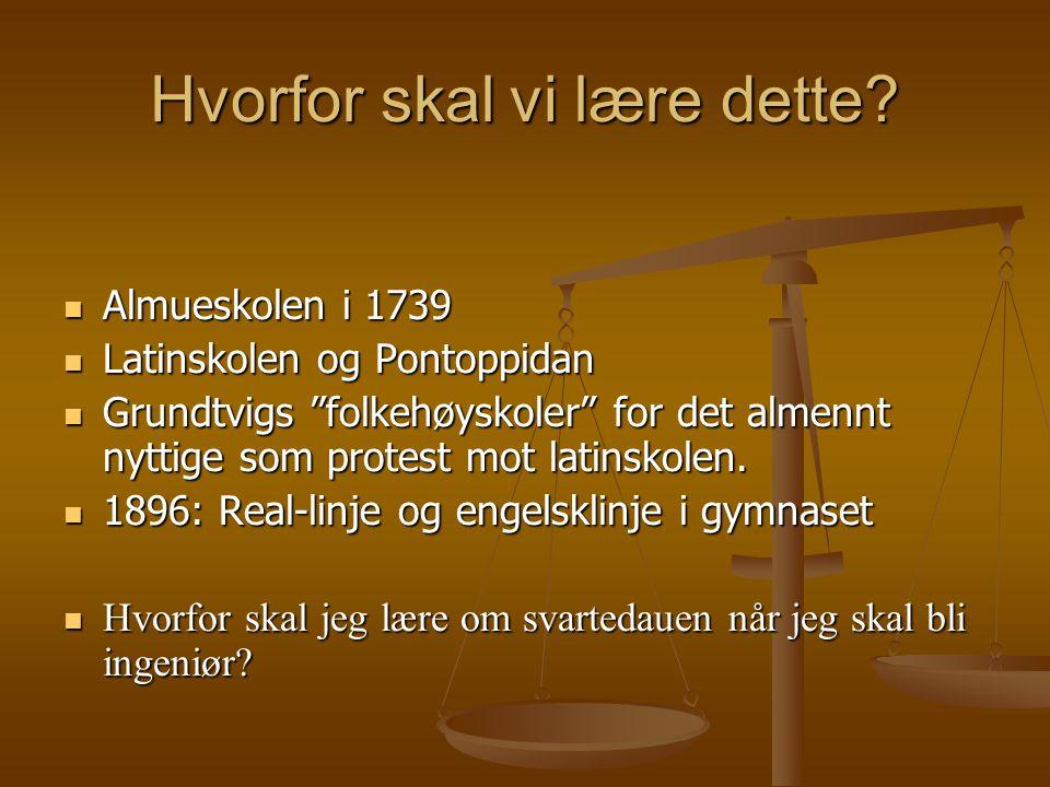 """Hvorfor skal vi lære dette? Almueskolen i 1739 Almueskolen i 1739 Latinskolen og Pontoppidan Latinskolen og Pontoppidan Grundtvigs """"folkehøyskoler"""" fo"""