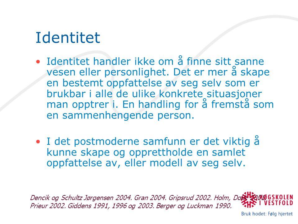 Identitet Identitet handler ikke om å finne sitt sanne vesen eller personlighet.