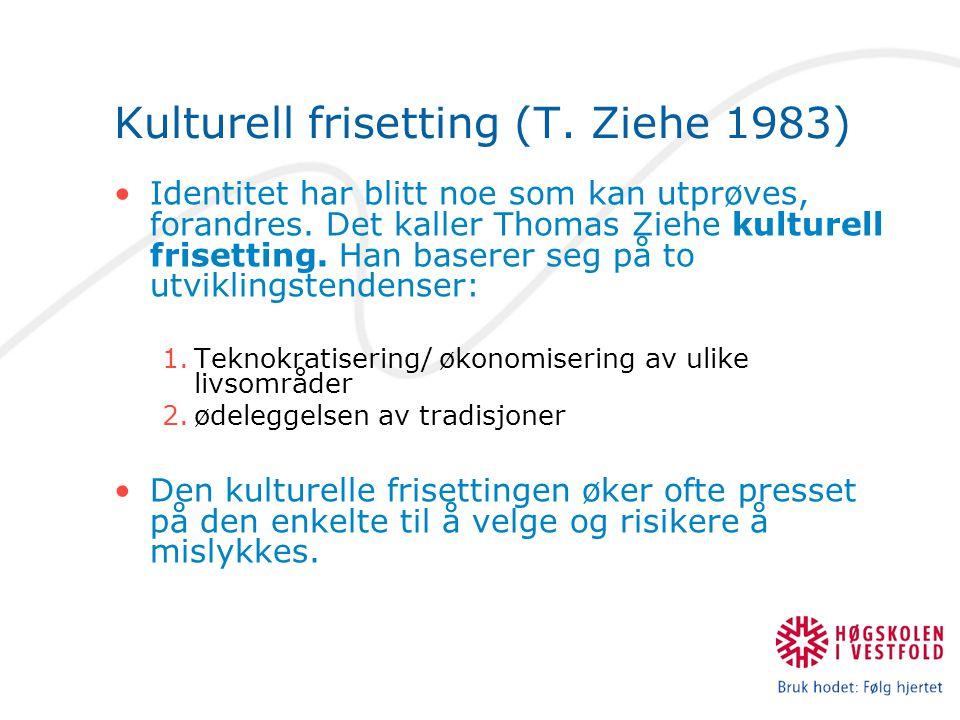 Kulturell frisetting (T.Ziehe 1983) Identitet har blitt noe som kan utprøves, forandres.