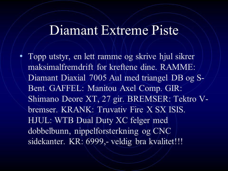 Her er det presentasjon om ulike sykkeltyper Vi skal skrive om Diamant, G- Force og K2