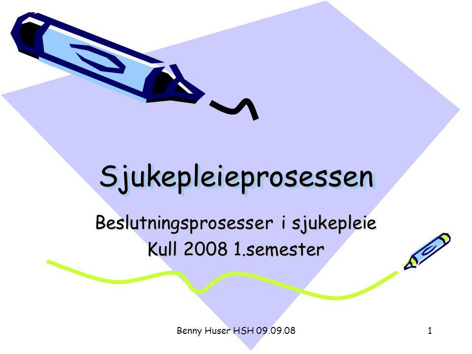Benny Huser HSH 09.09.082 Disposisjon 1.Litteratur 2.Eksempel 3.Introduksjon av begrepet sjukepleieprosessen 4.Sjukepleiesituasjoner og -problemer 5.Faser i sjukepleieprosessen 1.Datainnsamling 2.Behovsidentifisering 3.Målsetting 4.Sjukepleiehandling 5.Evaluering 6.Oppsummering