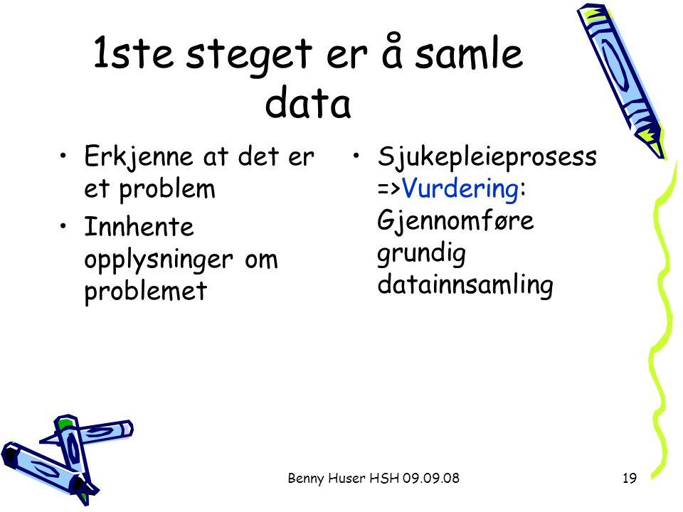 Benny Huser HSH 09.09.0819 1ste steget er å samle data Erkjenne at det er et problem Innhente opplysninger om problemet Sjukepleieprosess =>Vurdering: