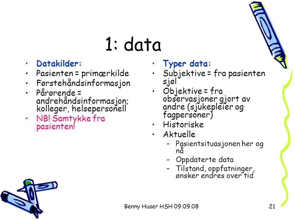 Benny Huser HSH 09.09.0821 1: data Datakilder: Pasienten = primærkilde Førstehåndsinformasjon Pårørende = andrehåndsinformasjon; kolleger, helseperson