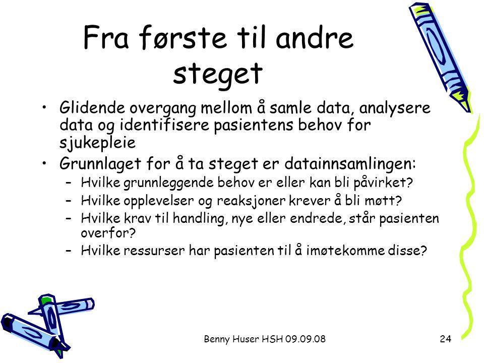 Benny Huser HSH 09.09.0824 Fra første til andre steget Glidende overgang mellom å samle data, analysere data og identifisere pasientens behov for sjuk