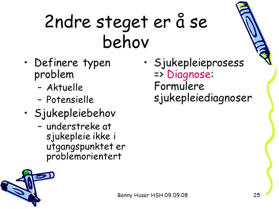 Benny Huser HSH 09.09.0825 2ndre steget er å se behov Definere typen problem –Aktuelle –Potensielle Sjukepleiebehov –understreke at sjukepleie ikke i