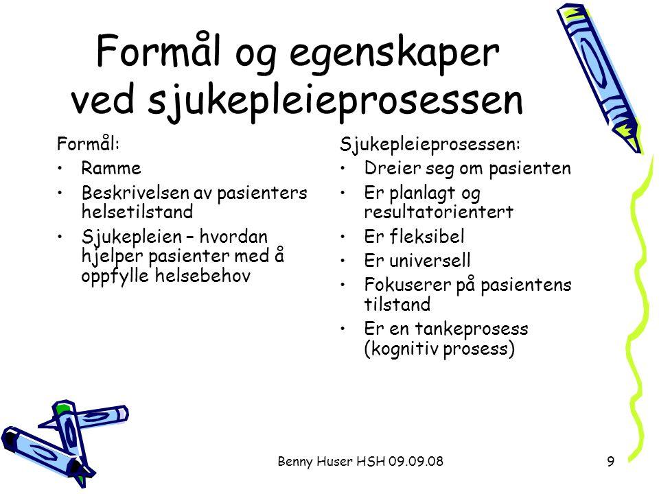 Benny Huser HSH 09.09.089 Formål og egenskaper ved sjukepleieprosessen Formål: Ramme Beskrivelsen av pasienters helsetilstand Sjukepleien – hvordan hj