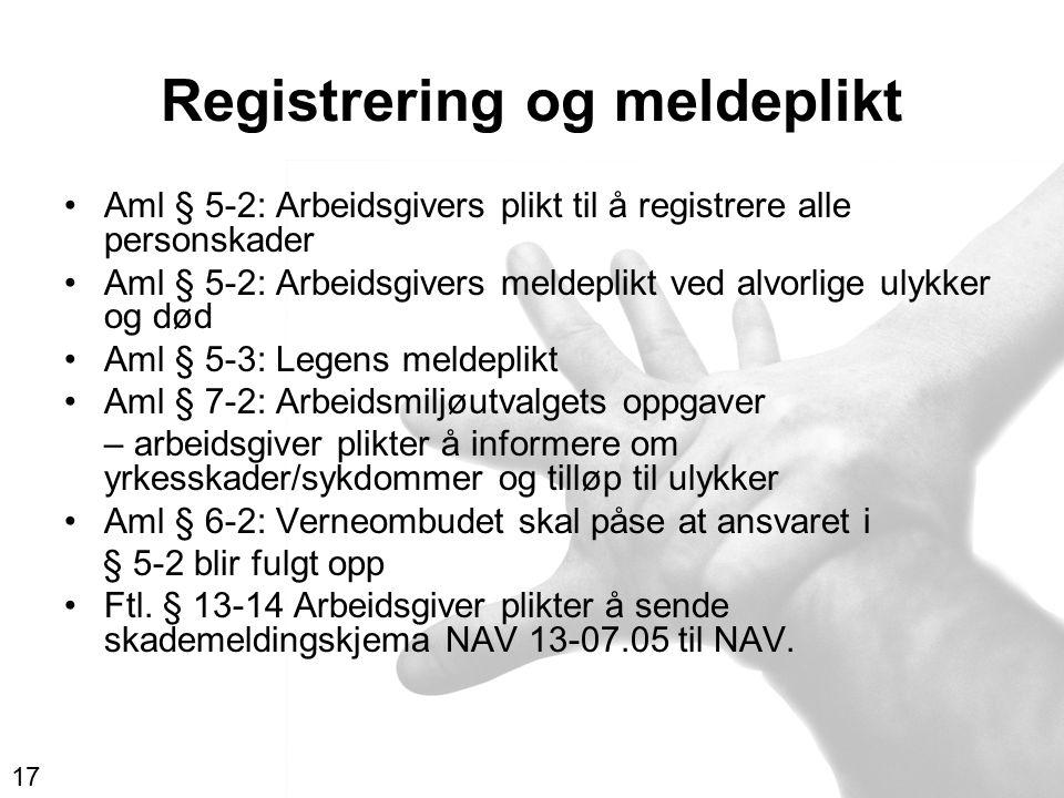 Registrering og meldeplikt Aml § 5-2: Arbeidsgivers plikt til å registrere alle personskader Aml § 5-2: Arbeidsgivers meldeplikt ved alvorlige ulykker