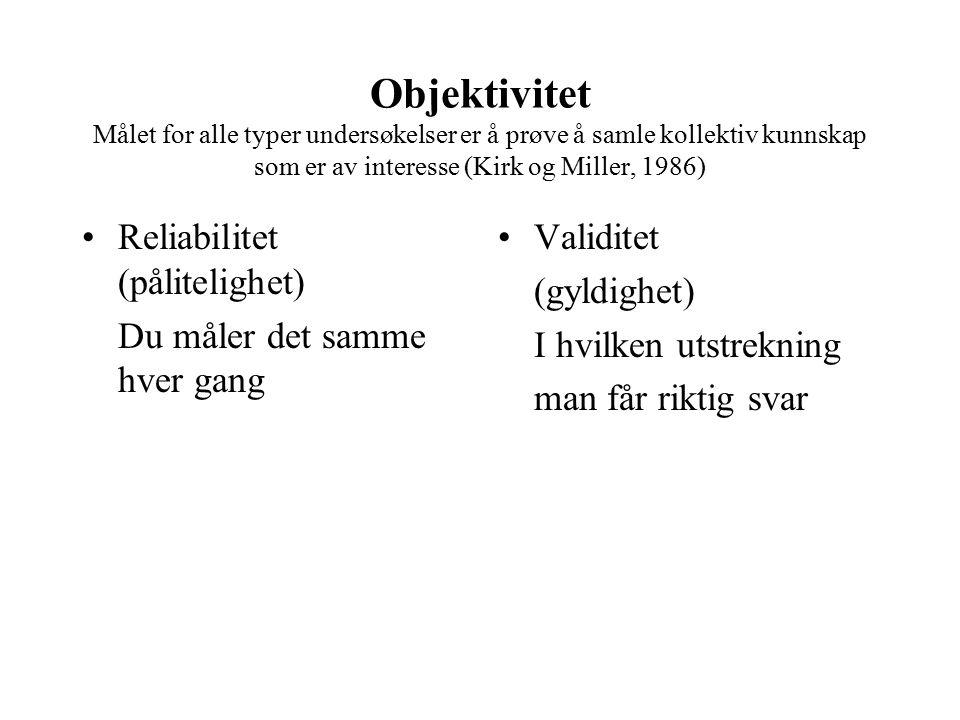Objektivitet Målet for alle typer undersøkelser er å prøve å samle kollektiv kunnskap som er av interesse (Kirk og Miller, 1986) Reliabilitet (pålitel