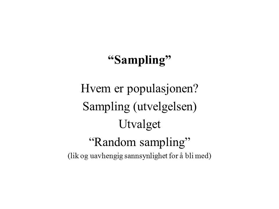 """""""Sampling"""" Hvem er populasjonen? Sampling (utvelgelsen) Utvalget """"Random sampling"""" (lik og uavhengig sannsynlighet for å bli med)"""